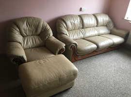 Cream Leather Suite