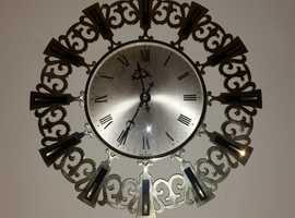 German post war sunburst wall clock quartz
