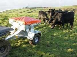 Sheep snacker. ATV sheep snacker. Livestock feeder with digital feed counter.