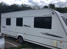 Elddis Odyssey 550 4 berth Caravan 2008 With Island Bed, Recent Motor Mover & XL Sun Canopy