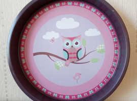 Large metal round tray owl pattern