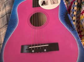 "Pink 30"" wood acoustic guitar"