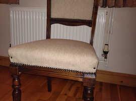 4 antique dark wood dining chairs.