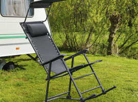 Costway Folding Garden Rocking Lounge Chair with Shade Canopy 89125073