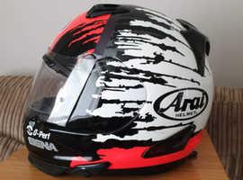 Aria rebel crash helmet fitted with sena 10u bluetooth headset intercom system