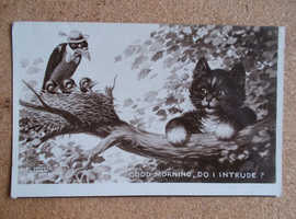 BESTALL COMIC POSTCARD GOOD MORNING DO I INTRUDE CAT TO NEST OF BIRDS POST 1950