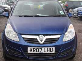 Vauxhall Corsa, 2007 (07) Blue Hatchback, Manual Petrol, 121,409 miles