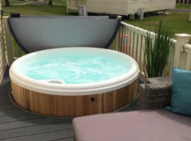Caravan with hot tub and decking for sale at Tattershall Lakes Country Park in Lincolnshire