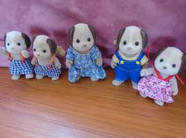 Sylvanian dog family mum dad and three children