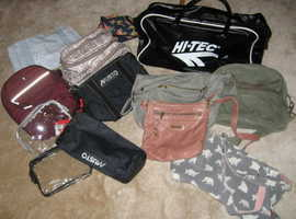 Unused sports bag plus a range of other bags