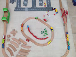 Wooden Train set with town and road set and extras