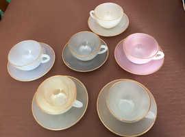 Vintage Arcopal France Harlequin Lustre 6 Cups and Saucers