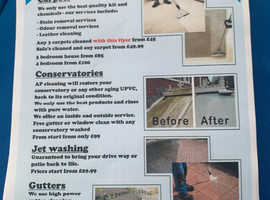 Carpet & upholstery cleaner, jet washing, conservatory and gutter cleaning