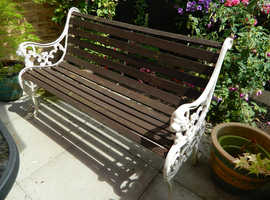 Cast Iron Garden Bench With Lion Head Armrests