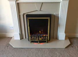 Fireplace with marble hearth / electric fire