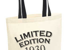 90th Party Cotton Tote Bag Birthday Presents Gifts Year 1930 Shopper Shopping