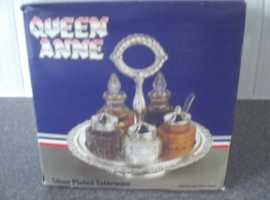 Queen Anne Silver Plated revolving cruet set (new and boxed)