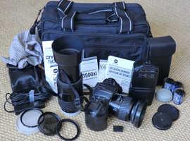 Minolta Dynax 500si Super film SLR, 28-80 & 75-300 lenses, 3500xi flash, remote etc.