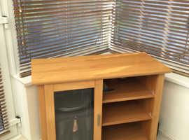 Oak glass small cabinet