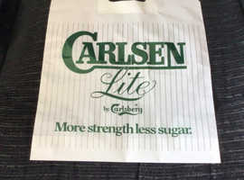 Rare, unused 1970's breweriana carrier bag, Carlsen Lite by Carlsberg