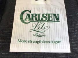 Rare, unused, vintage Breweriana carrier bag. Carlsen Lite by Carlsberg