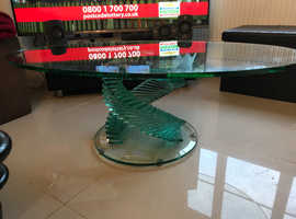 Spiral glass oval coffee table - stunning!!!