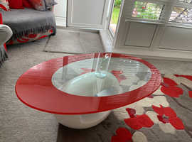 Contemporary red and white glass top coffee table