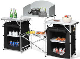 COSTWAY 2 IN1 Folding Aluminum Stand Table BBQ (OP70292)