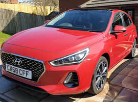 Hyundai i30, 2018 (68) red hatchback, Manual Petrol, 18,700 miles