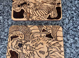 Two wooden coasters