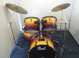 Retired drum teacher has several mid range drum kits for sale with 12 months guarantee.