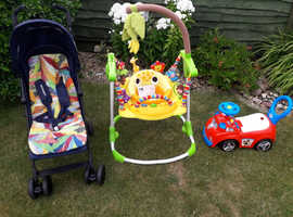 Mothercare Jumping giraffe, Mothercare Buggy / Stroller and Tesco Paw Patrol ride on.