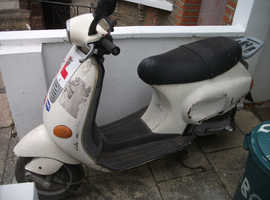 Piaggio Vespa 49cc., full face helmet and cover, MOT until October 2019. Offers please.