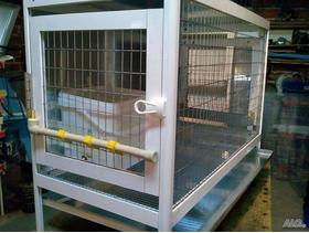 Aluminum cage for rabbit. Gold Secure Safety Equipment. Color-white.