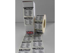 Food Labels, Food Allergy Labels 36mm x 36mm 1000 On A Roll