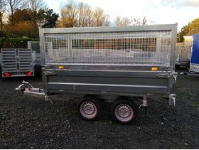 New Tipping Trailer 8.33 ft x 5.1 ft 2700kg Tipper Flatbed Cage Car Trailer Twin Axle