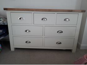Large, wooden white chest of drawers with oak top, excellent condition
