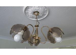 Pair of Wall Lights and Matching 3 cluster Ceiling Lights