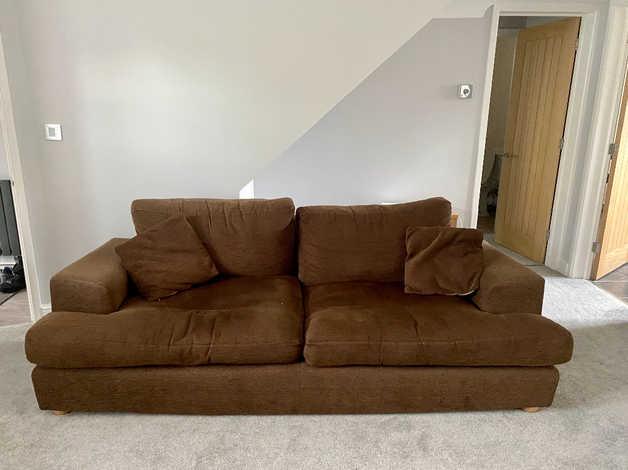 Free large chocolate brown sofa in Southampton
