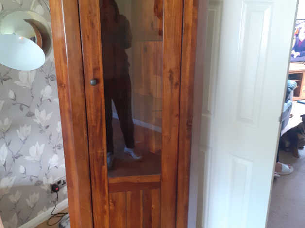 Free to collector well made solid wood display cabinet in Stafford
