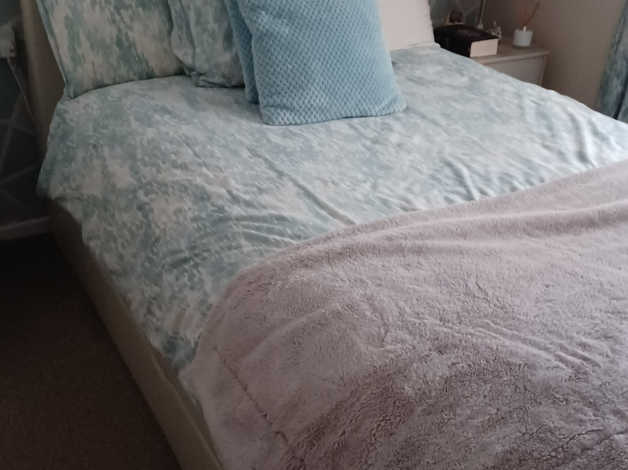 Free double cream faux leather sleigh bed style with mattress in Rotherham