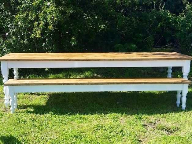 9 Ft New Farmhouse Dining Table With One Matching Bench Seat  Farrow