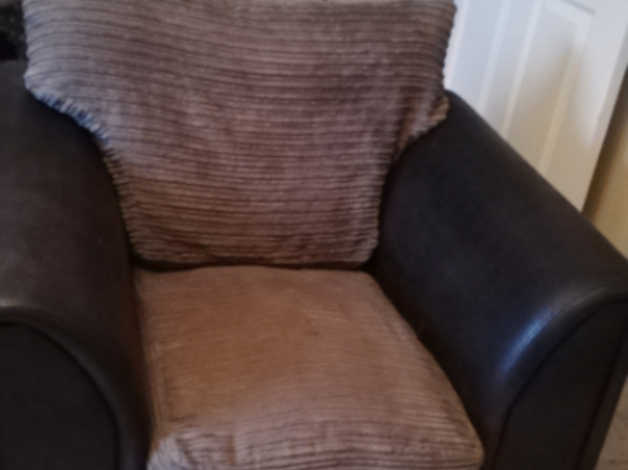Suede and cord sofa and arm chair in Halifax